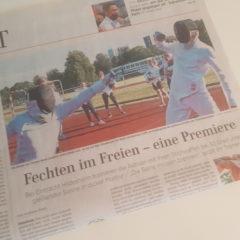 Hauptseite Sport in der Samstagszeitung: die Hildesheimer Fechter in der HAZ